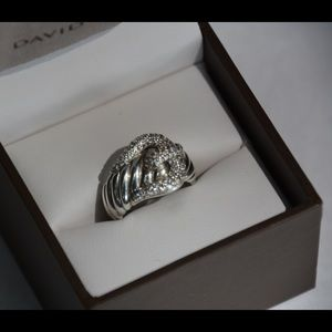 Stunning David Yurman Sterling Diamond Buckle Ring